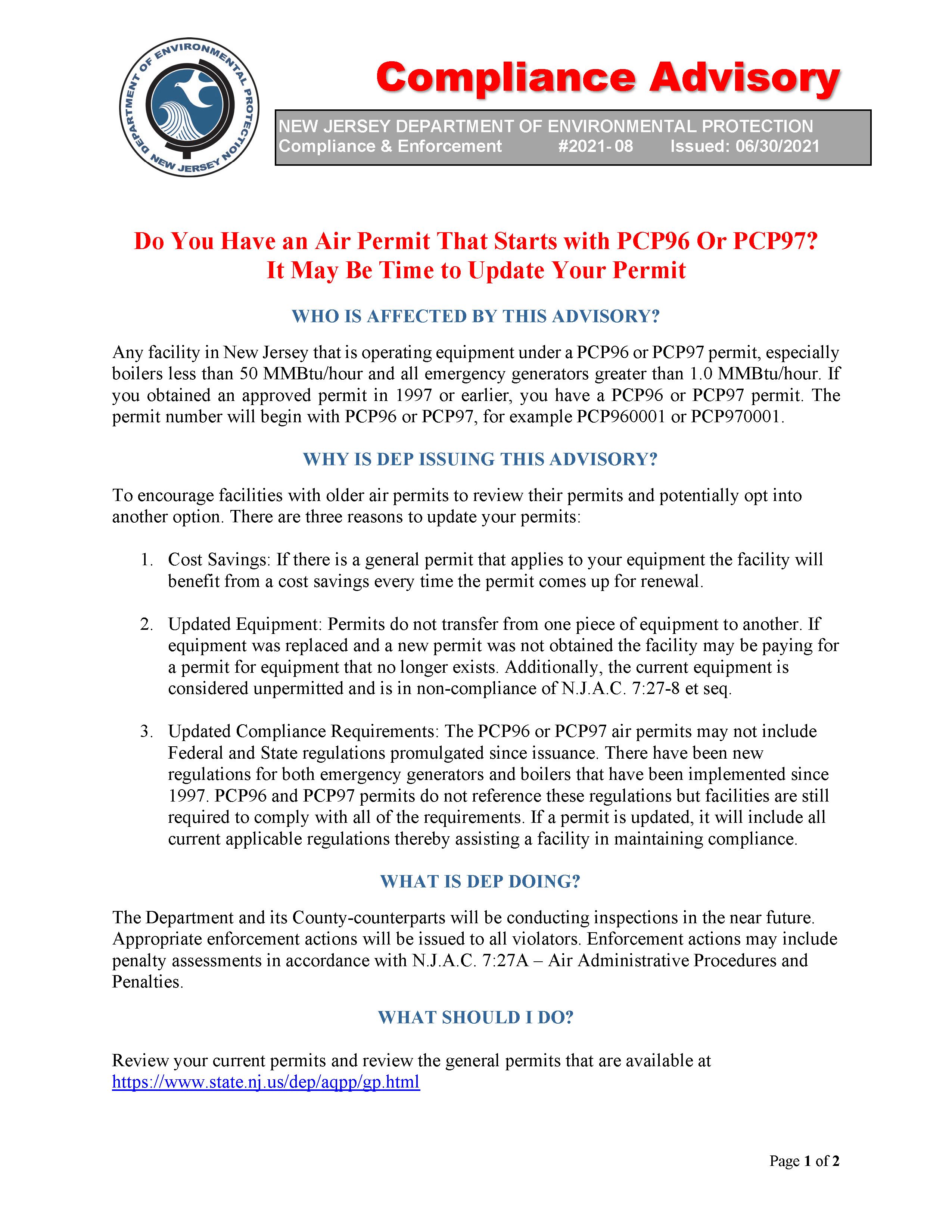 NJDEP PCP96 Air Permit Compliance Advisory