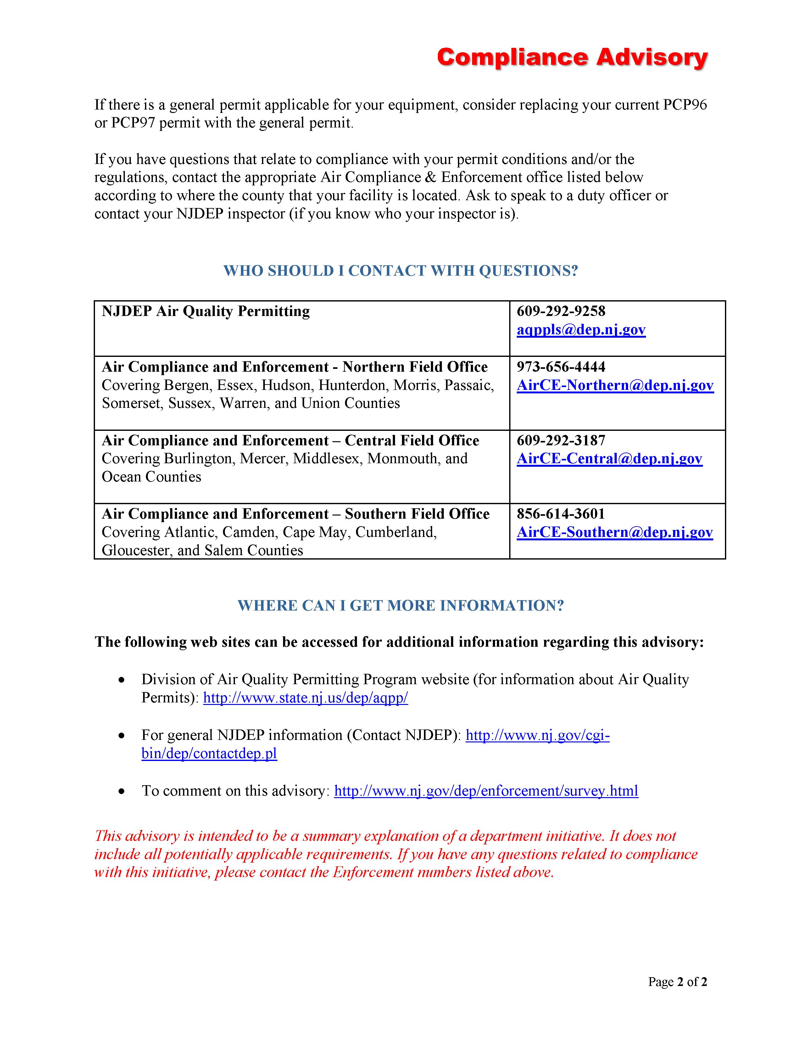 NJDEP PCP97 Air Permit Compliance Advisory
