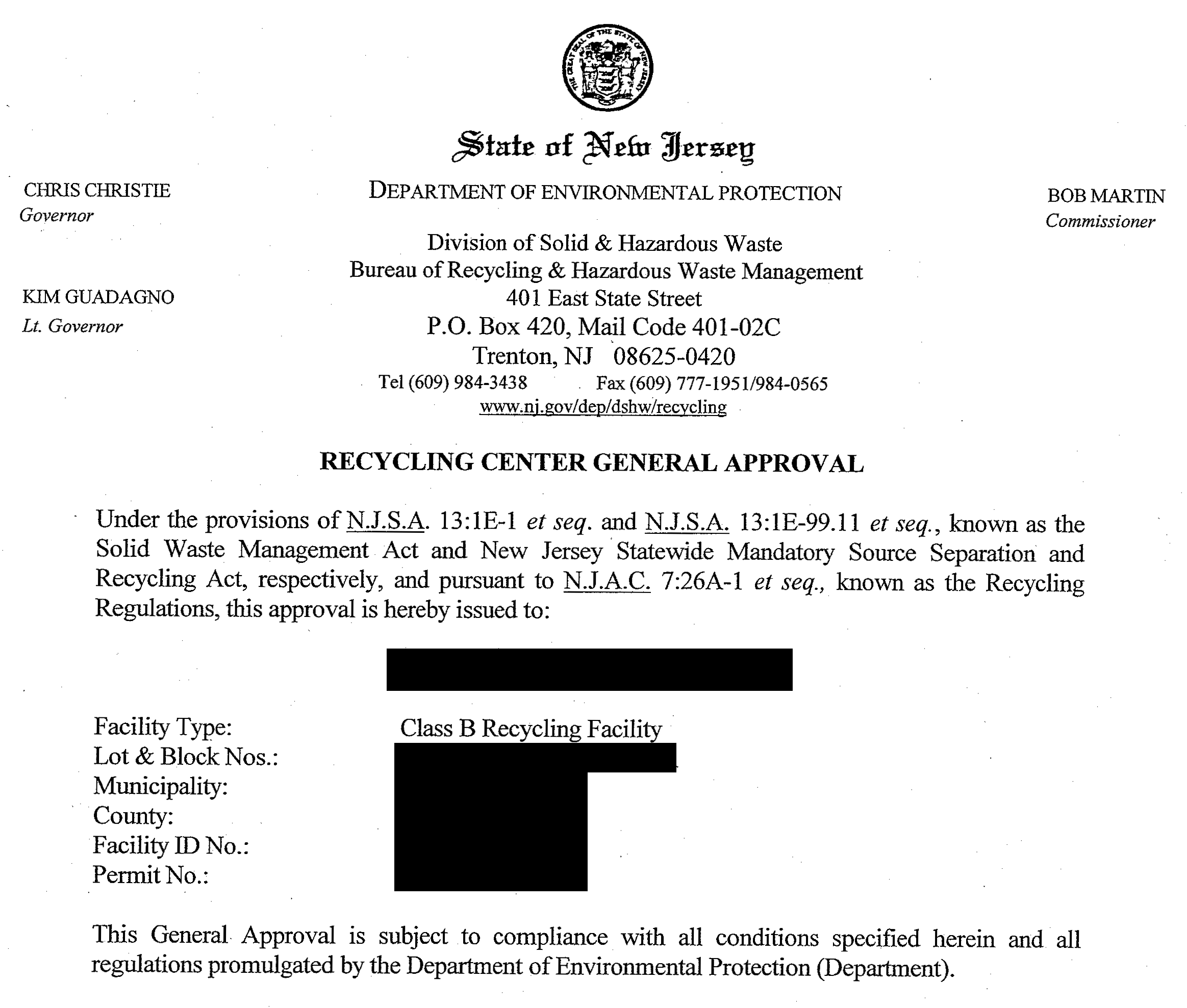 New Jersey Recycling Approvals